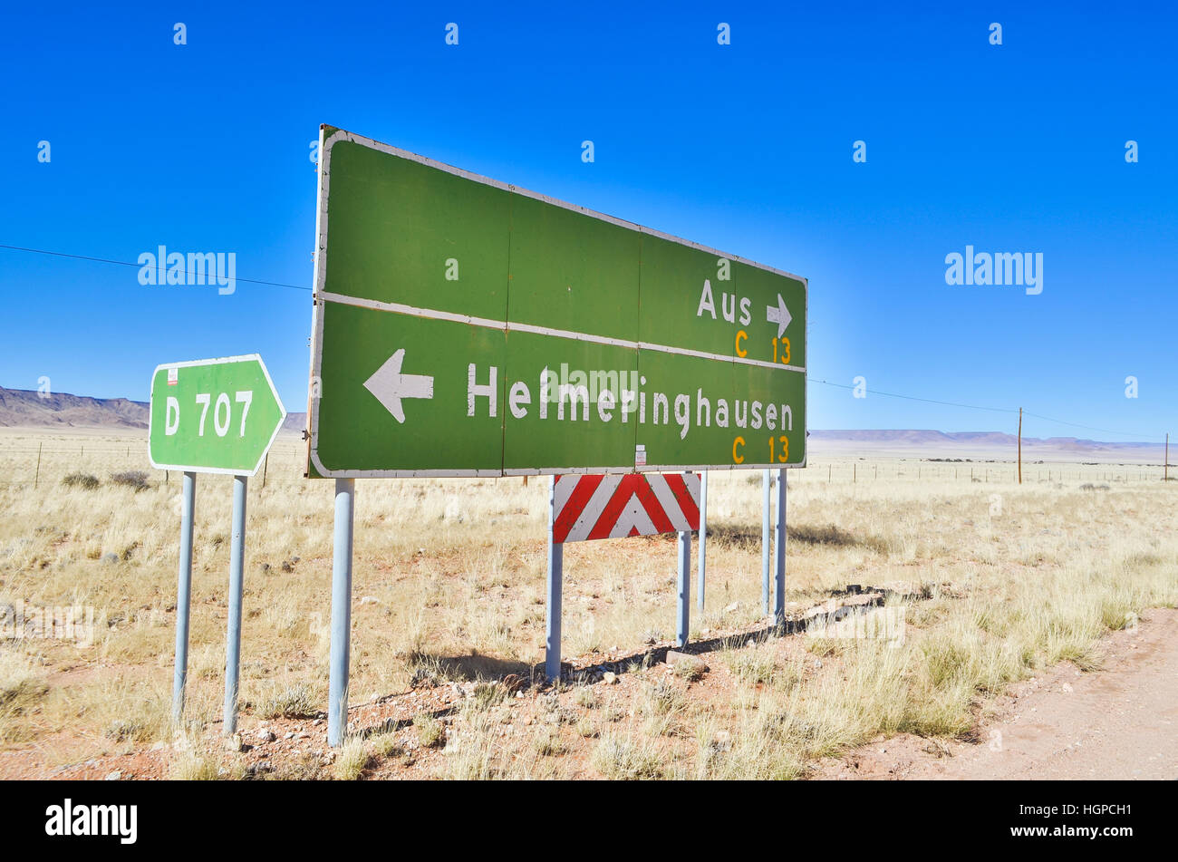 Road sign between Aus and Helmeringhausen, Namibia - Stock Image