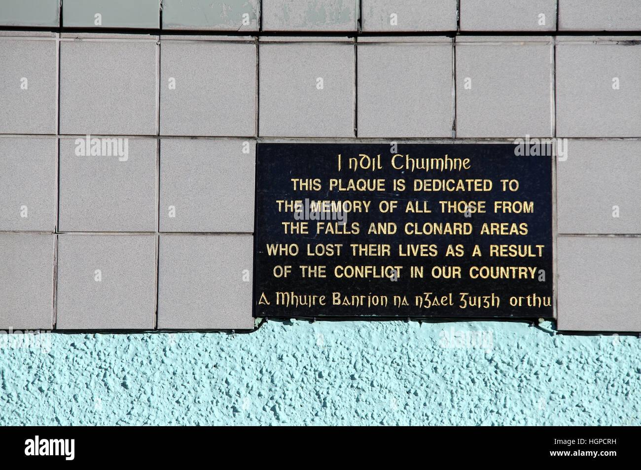Troubles memorial in the Belfast Gaeltacht Quarter - Stock Image