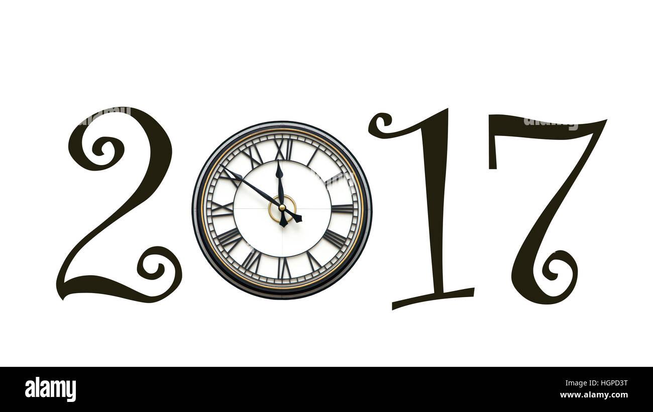 2017 Happy New Year Clock Stock Photos & 2017 Happy New Year Clock ...