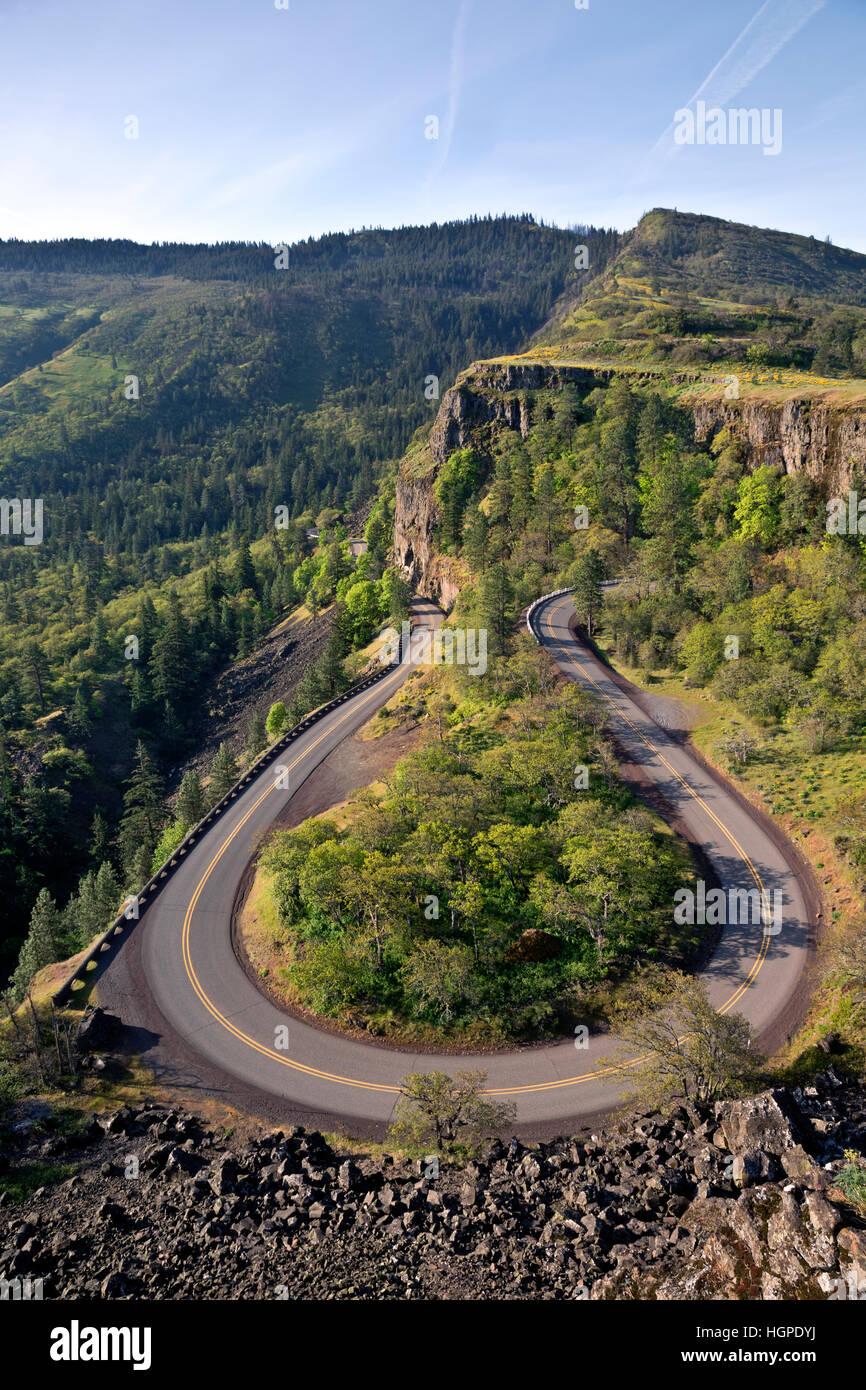 OR02253-00...OREGON - The historic Columbia River Highway twisting through The Loop near the summit of Rowena Crest. - Stock Image