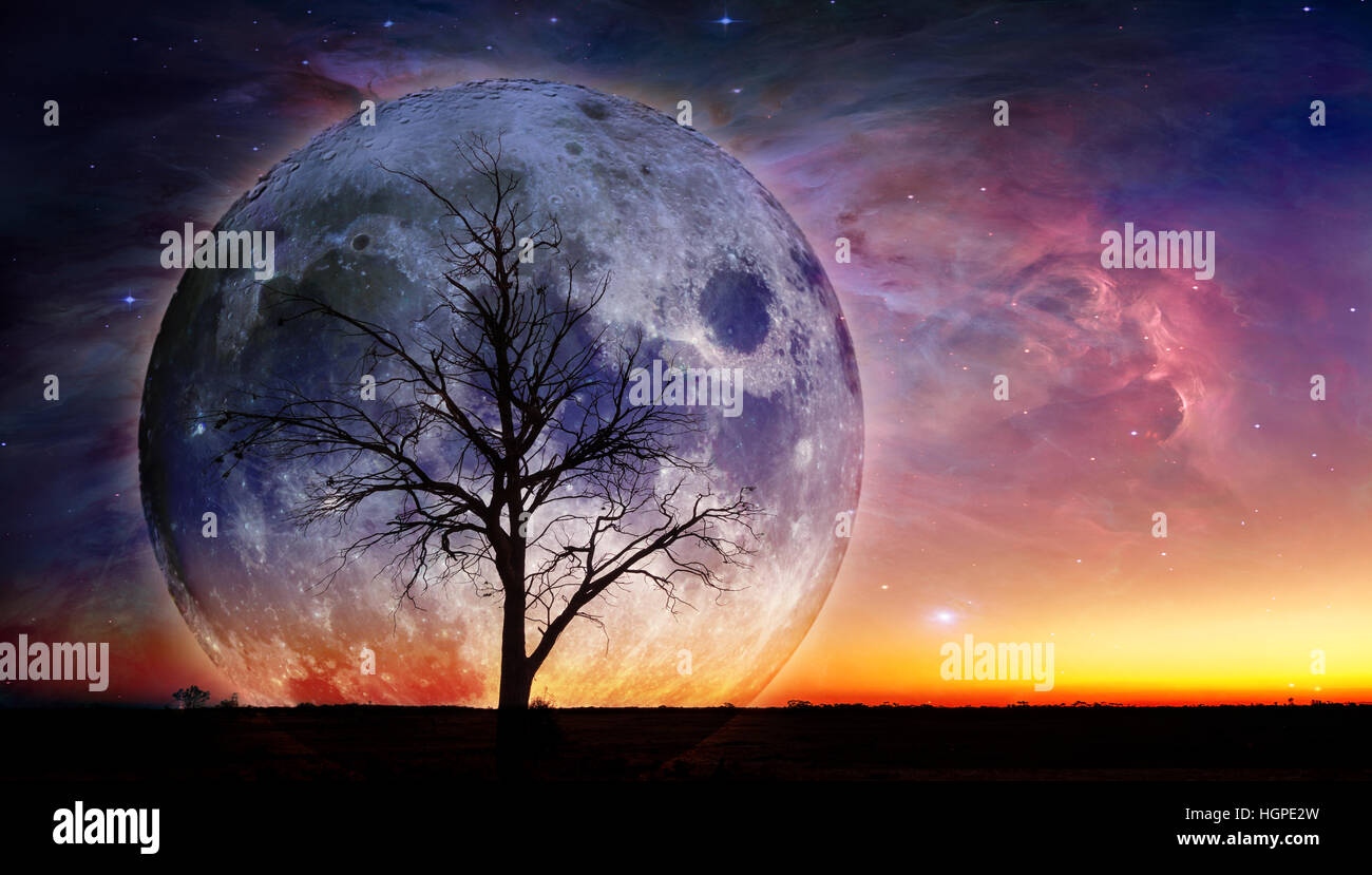 Fantasy landscape - Lonely bare tree silhouette with huge planet rising behind it and galaxy in the sky. Elements - Stock Image