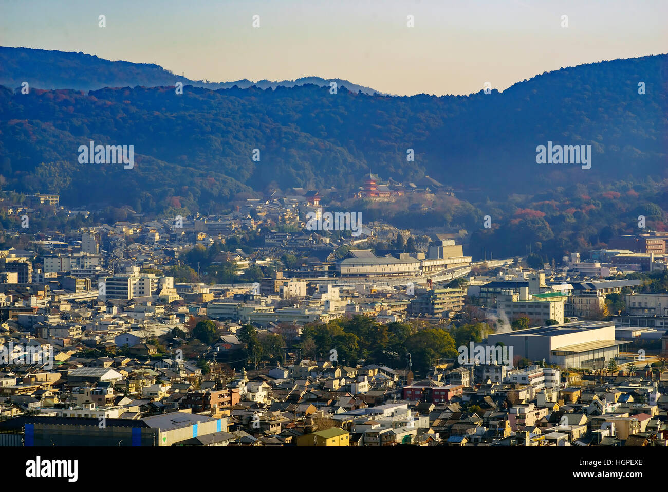 Aerial view of Kyoto downtown cityscape on Kyoto Tower, Japan Stock Photo