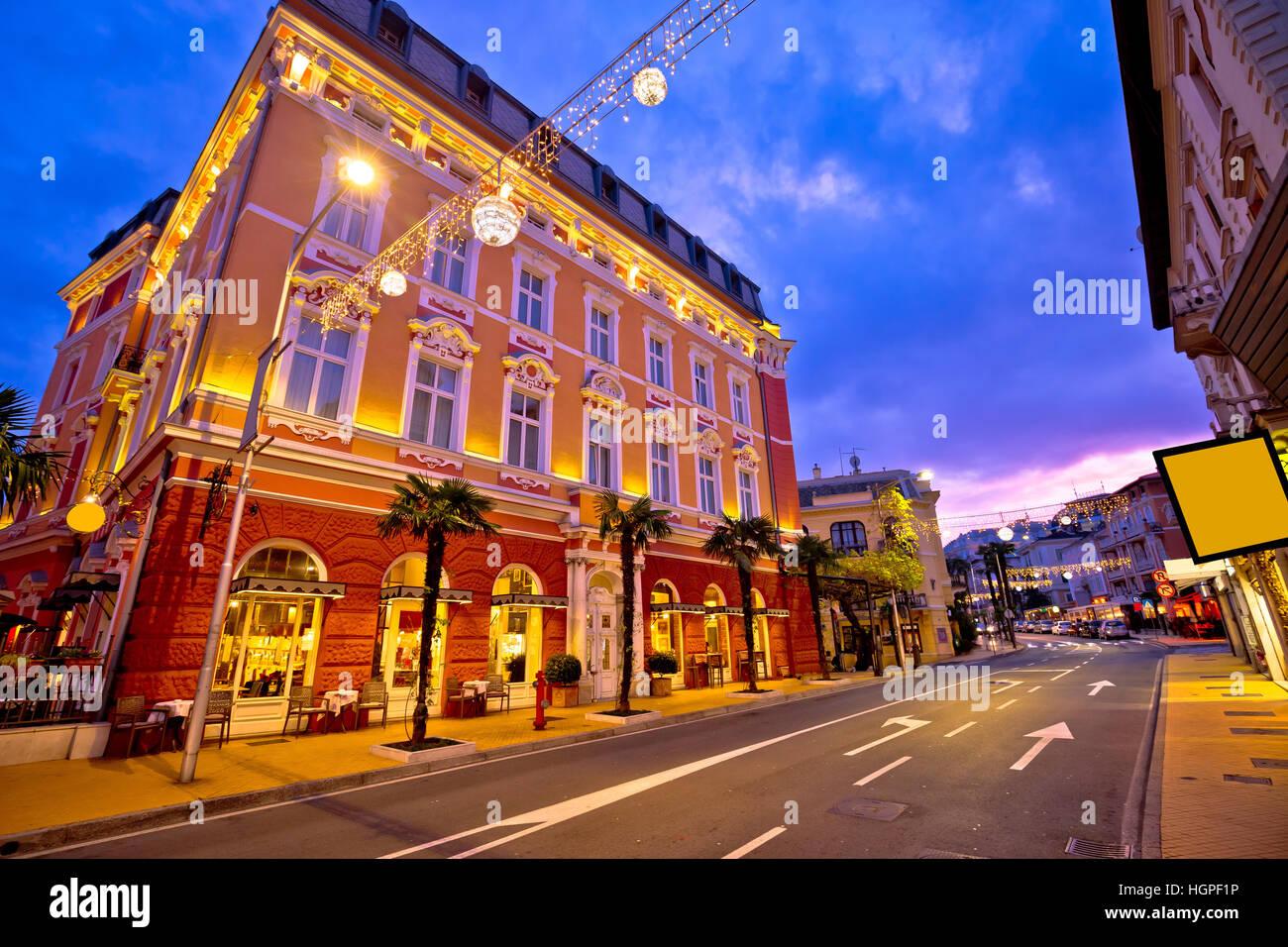 Town of Opatija evening streetscape, classic architecture of Kvarner, Croatia - Stock Image