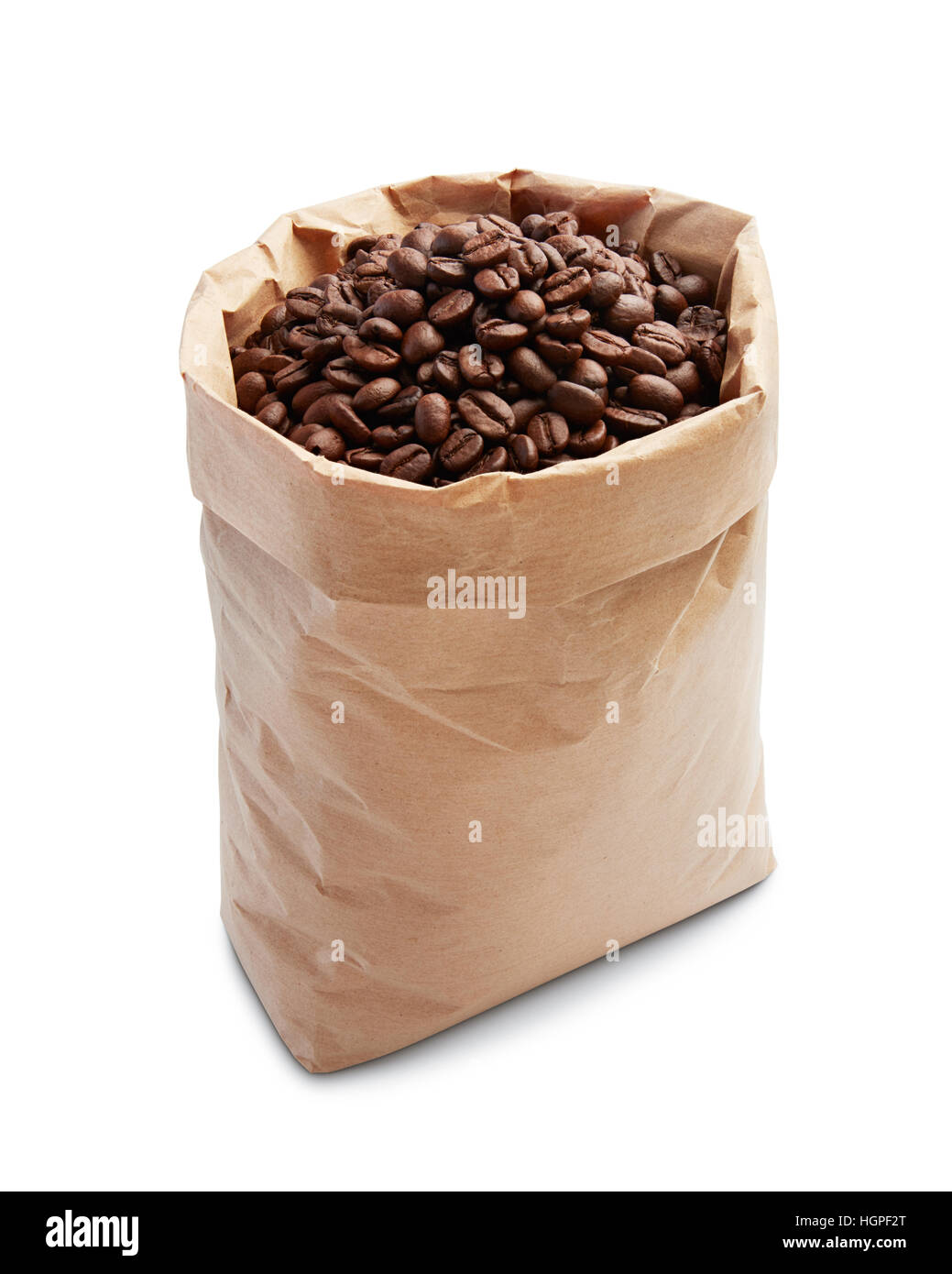 coffee beans in paper bag isolated on white Stock Photo
