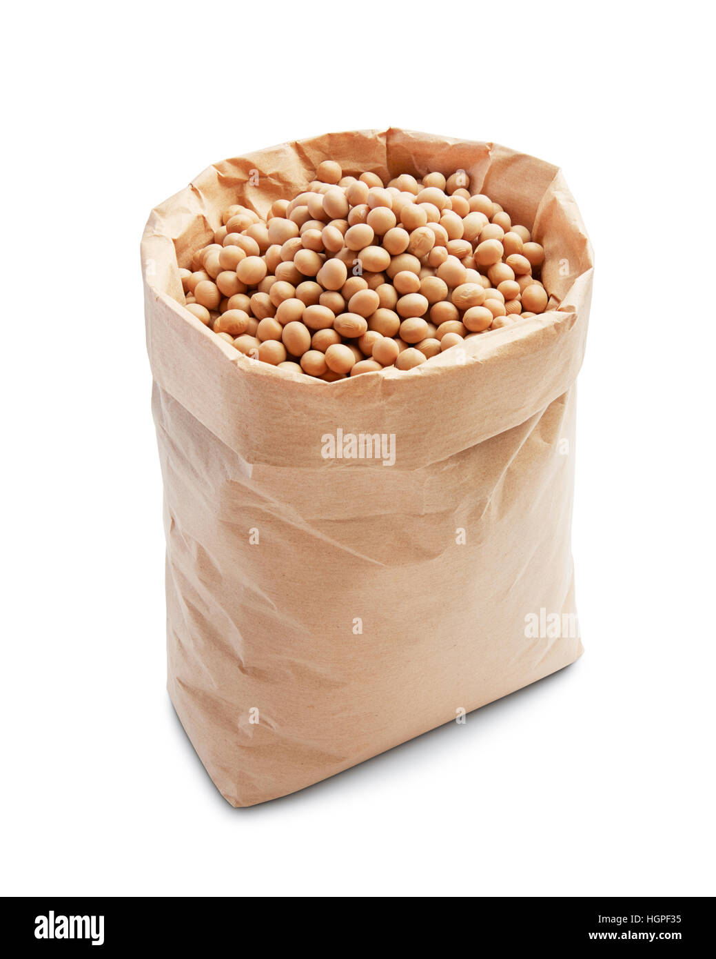 soybeans in paper bag isolated on white - Stock Image