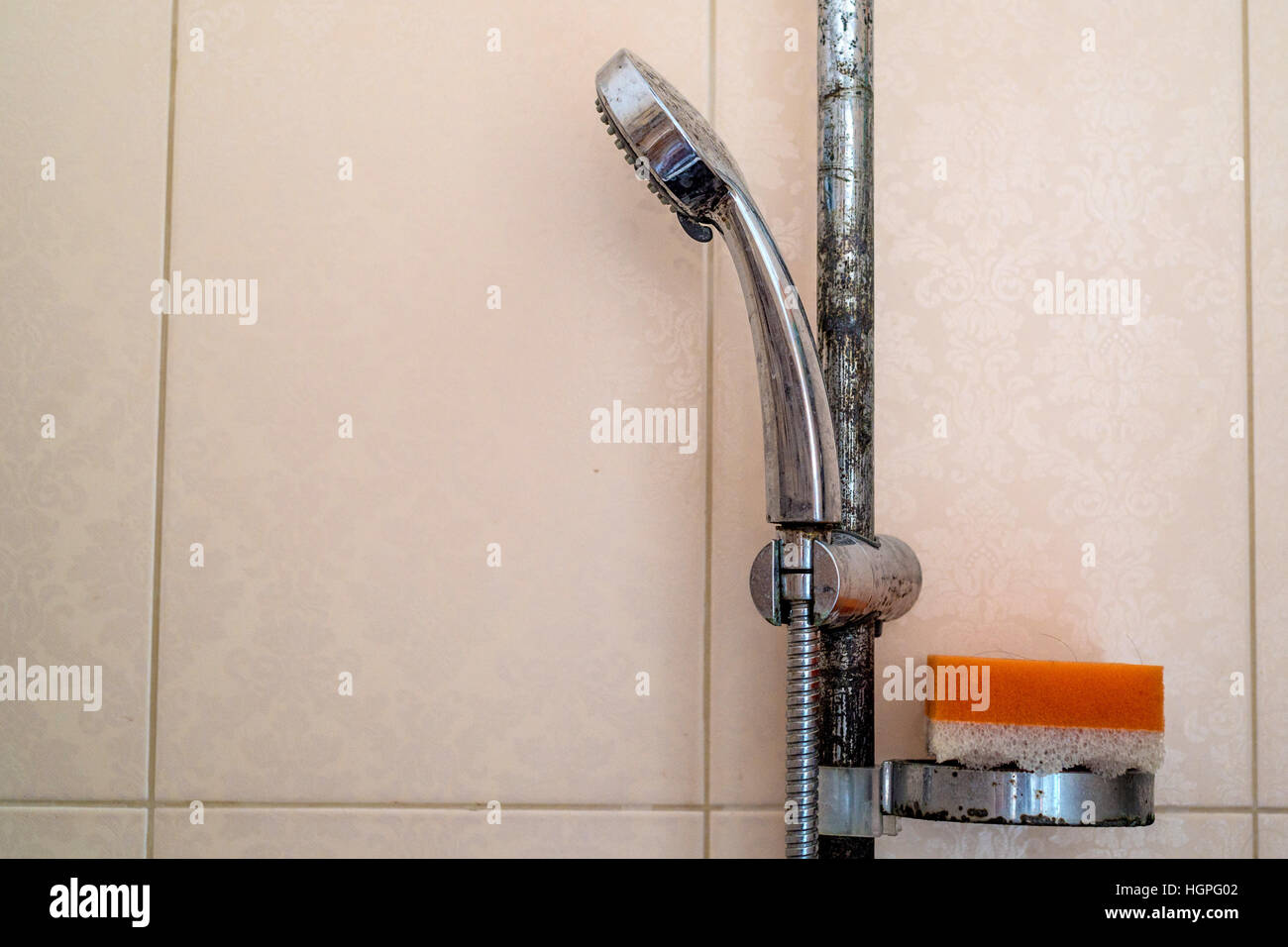 Hard water calcium deposit and corrosion on chrome shower tap Stock ...