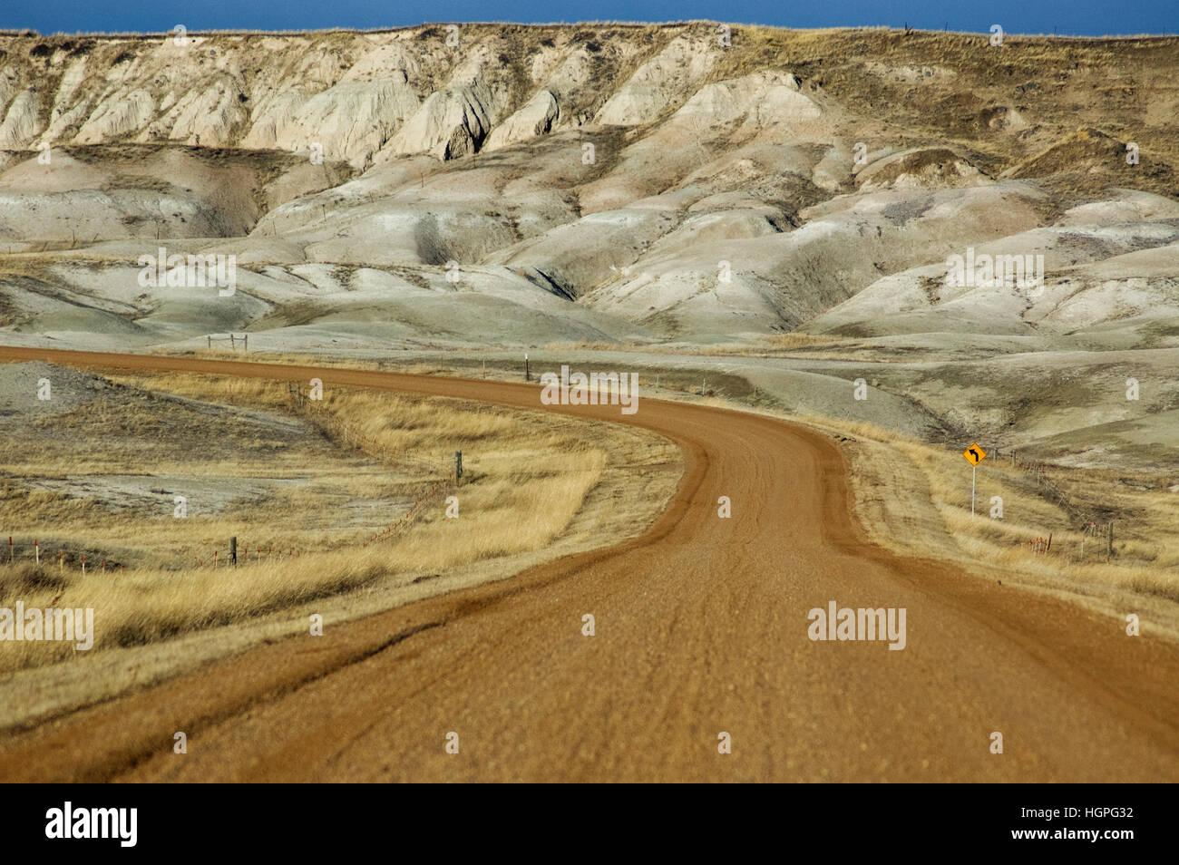 Road into Badlands National Park  South Dakota USA - Stock Image