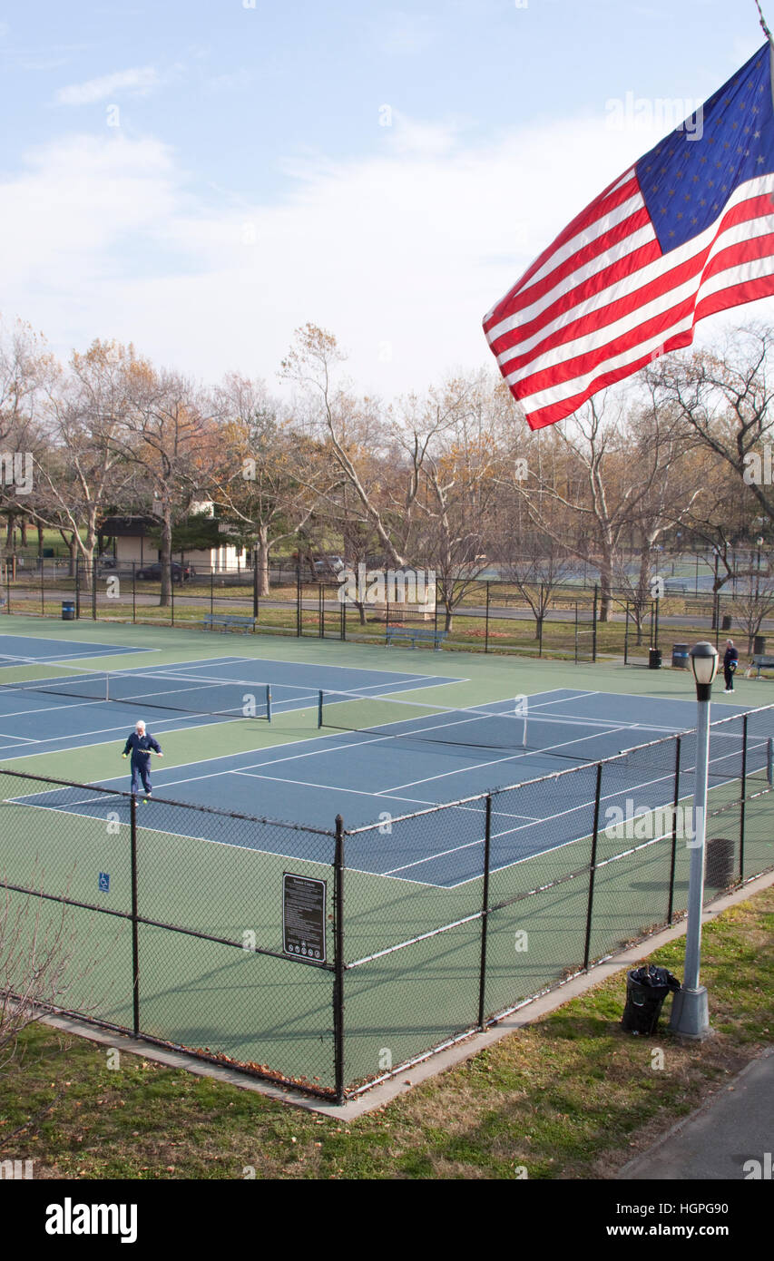 Tennis Court at Flushing Meadows Park, Queens, New York Stock Photo