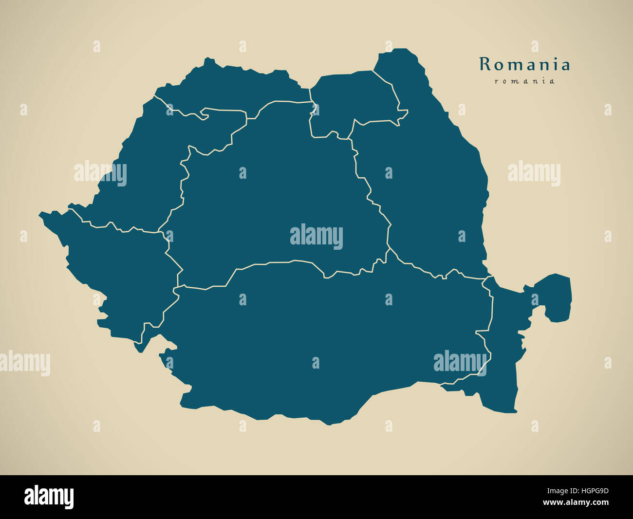 Modern Map - Romania with regions RO illustration - Stock Image