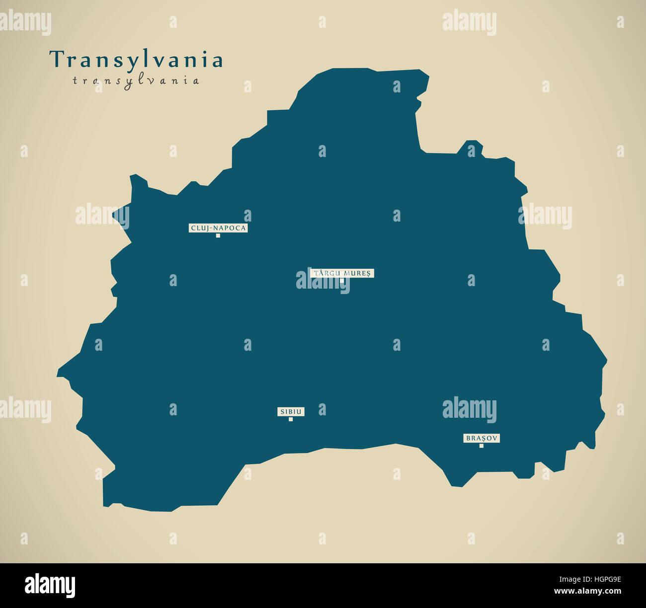 Modern Map - Transylvania Romania RO illustration - Stock Image