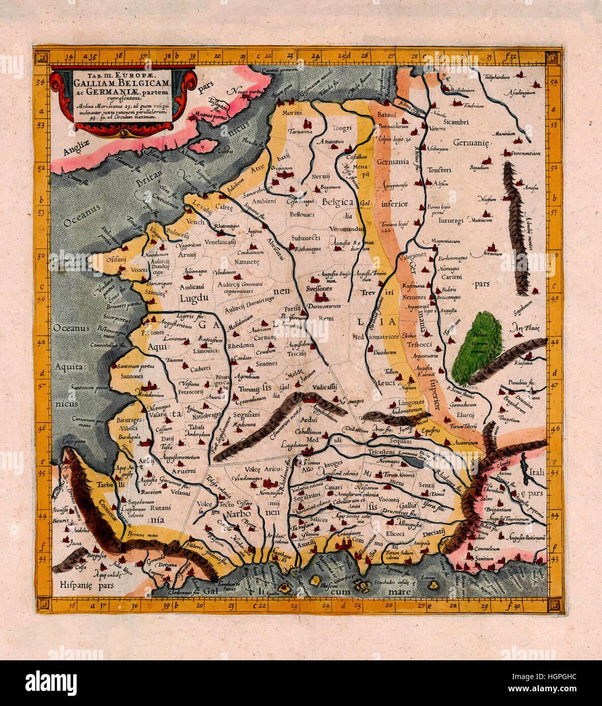 Map Of Belgium 1695 - Stock Image