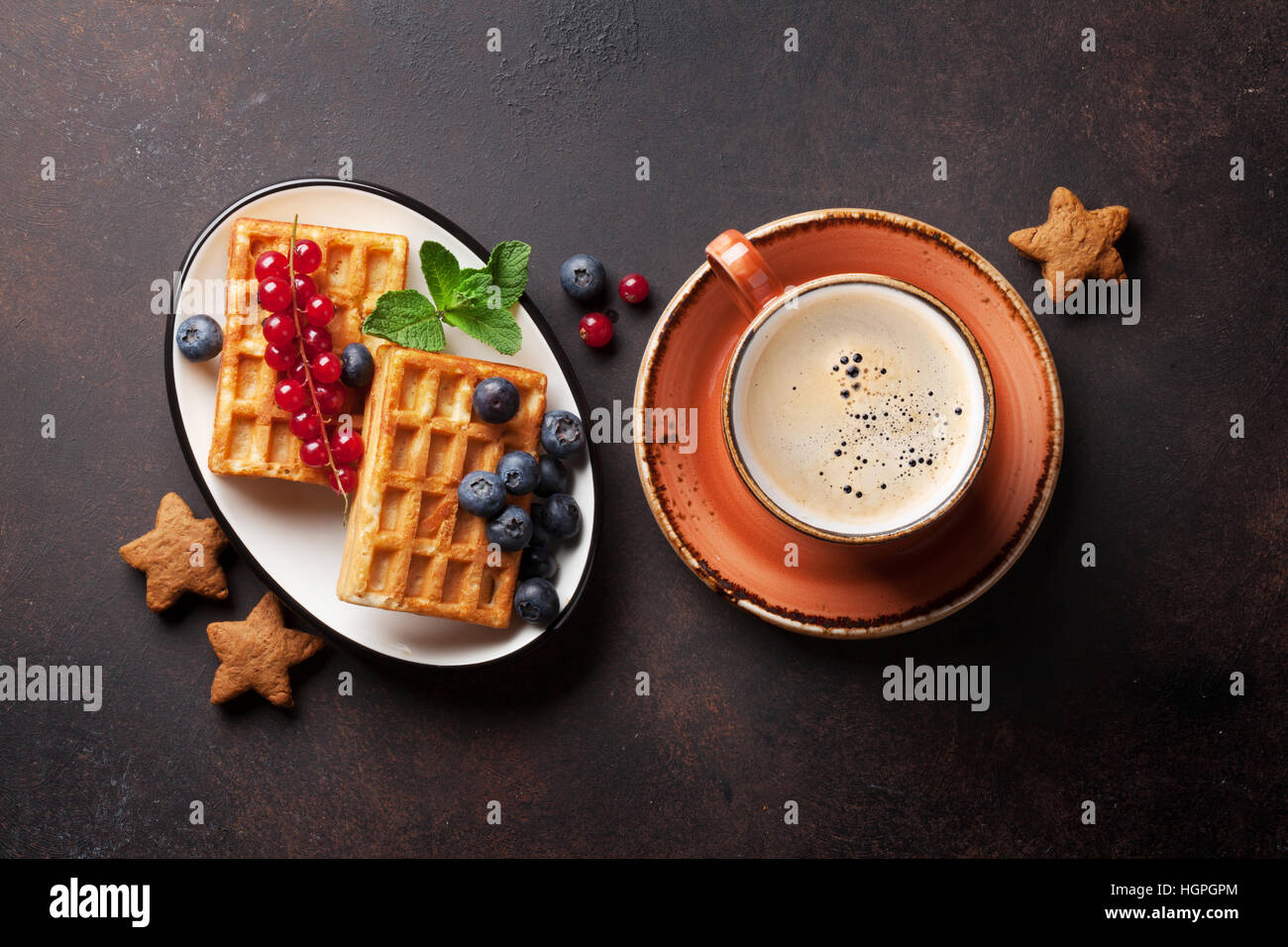 Coffee with waffles and sweets. Top view - Stock Image