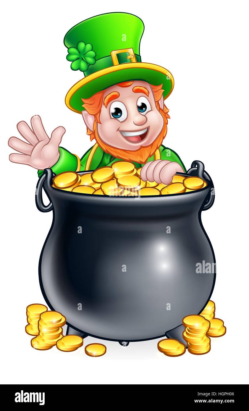 a cartoon leprechaun st patricks day character peeking over a pot of