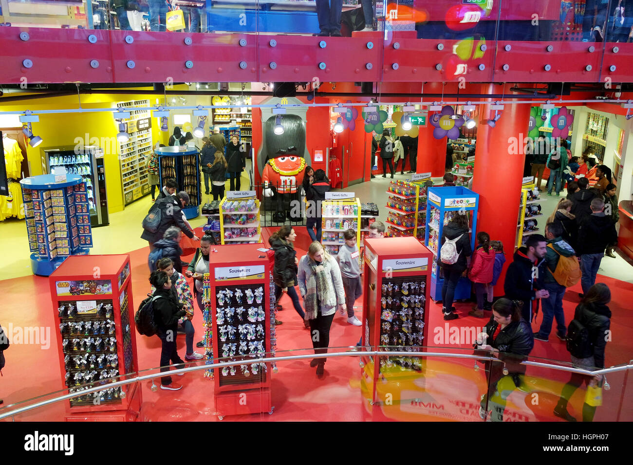 London,Uk - April 15, 2016: Tourists inside the M&M's World. Stock Photo