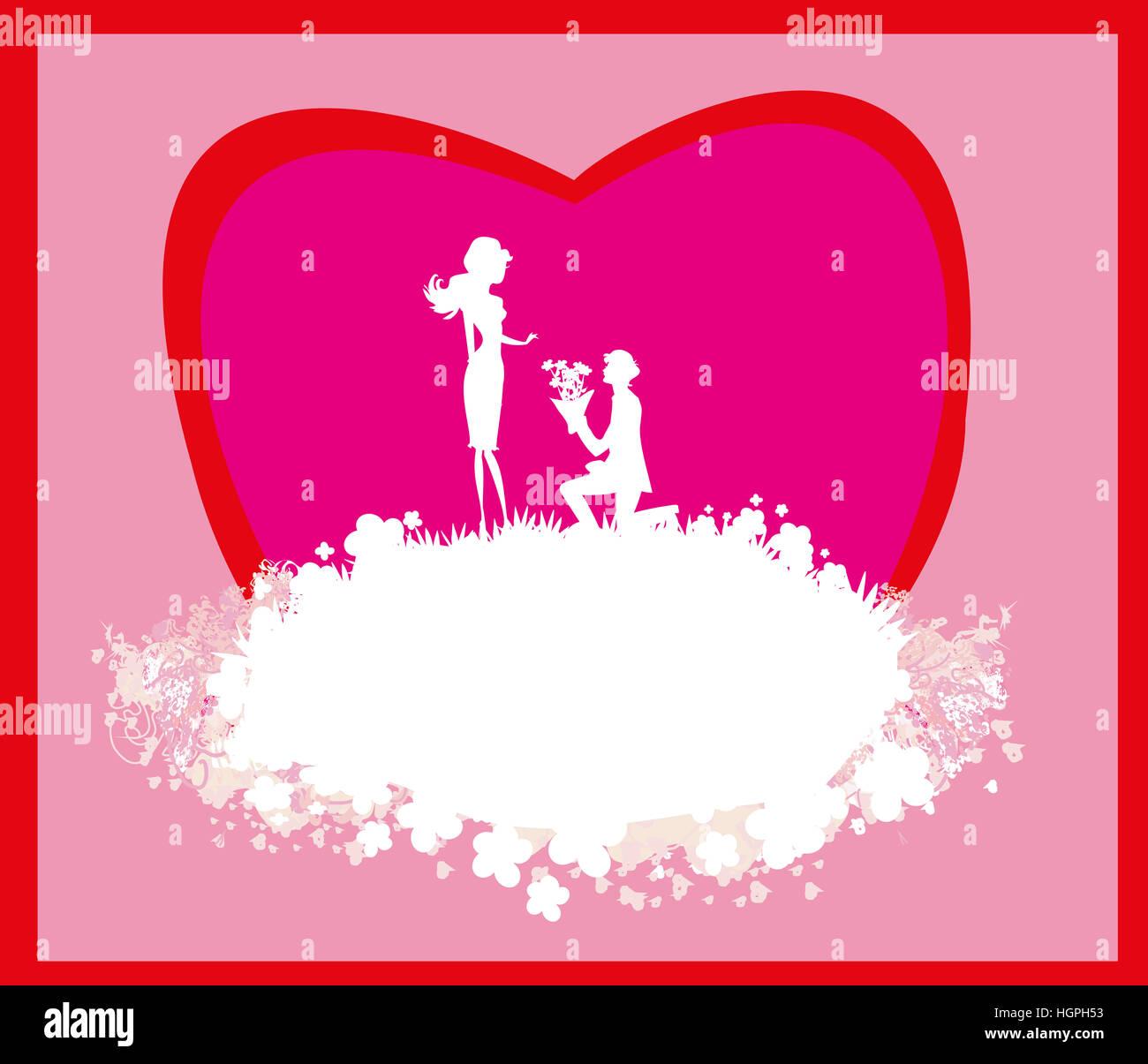proposal wedding - couple silhouette card Stock Photo: 130803487 - Alamy