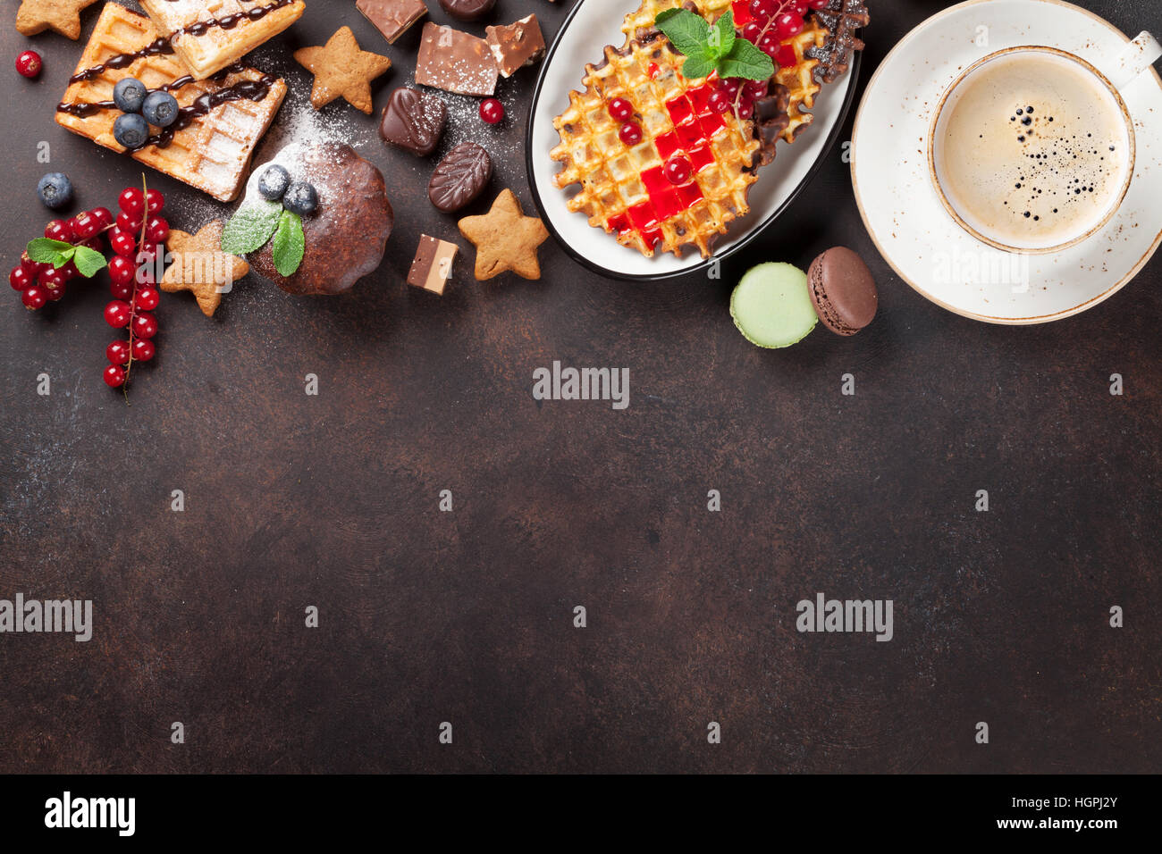 Coffee with waffles and sweets. Top view with copy space for your text - Stock Image