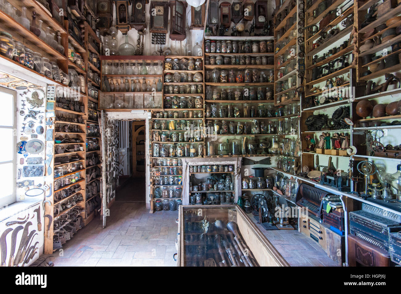 Interior view of a gallery of the Museo Guatelli ethnographic museum near Parma, Italy Inexhibit magazine - Stock Image