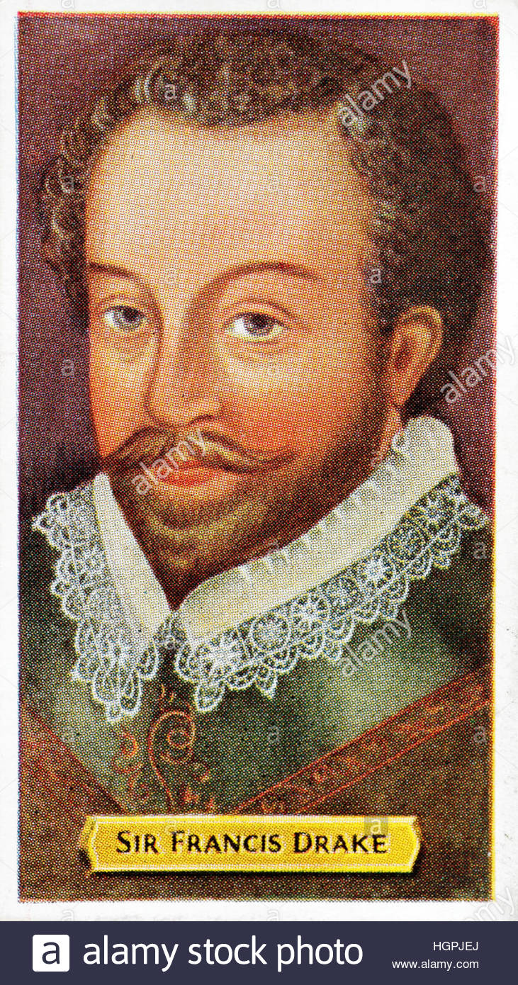 Sir Francis Drake portrait, 1540 – 1596,  was an English sea captain of the Elizabethan era. - Stock Image