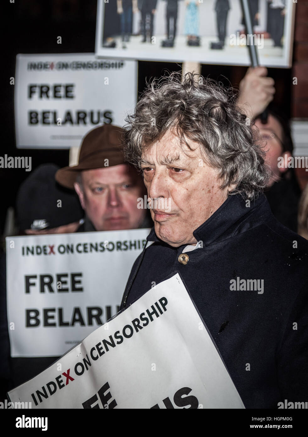 Tom Stoppard, British playwrite and screenwriter joins the Free Belarus Now protest outside Belarusian Embassy in - Stock Image