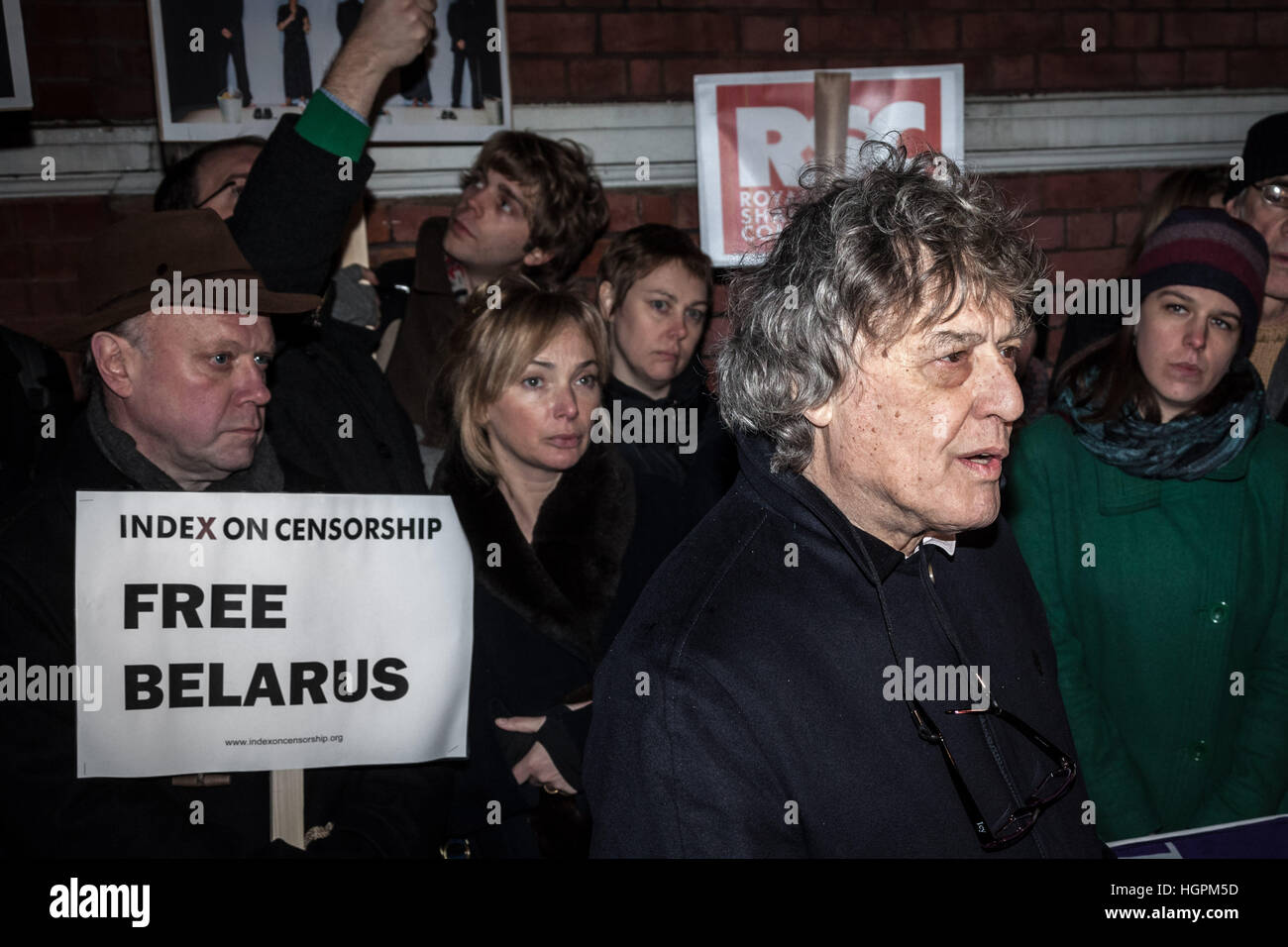 Tom Stoppard, British playwrite and screenwriter joins the Free Belarus Now protest outside Belarusian Embassy in Stock Photo