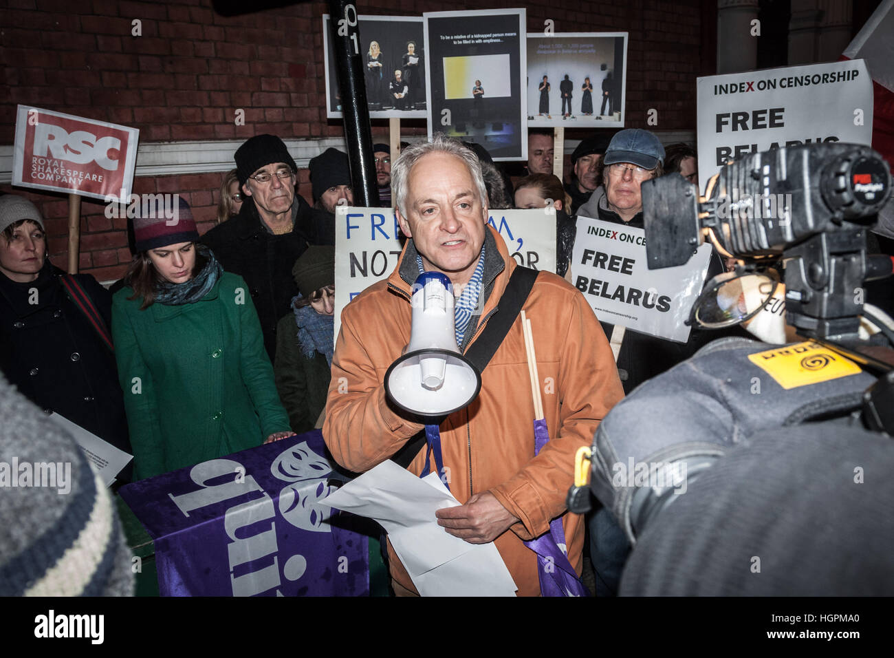 Malcolm Sinclair, British stage and television actor also President of Trade Union, Equity, speaks at Free Belarus - Stock Image