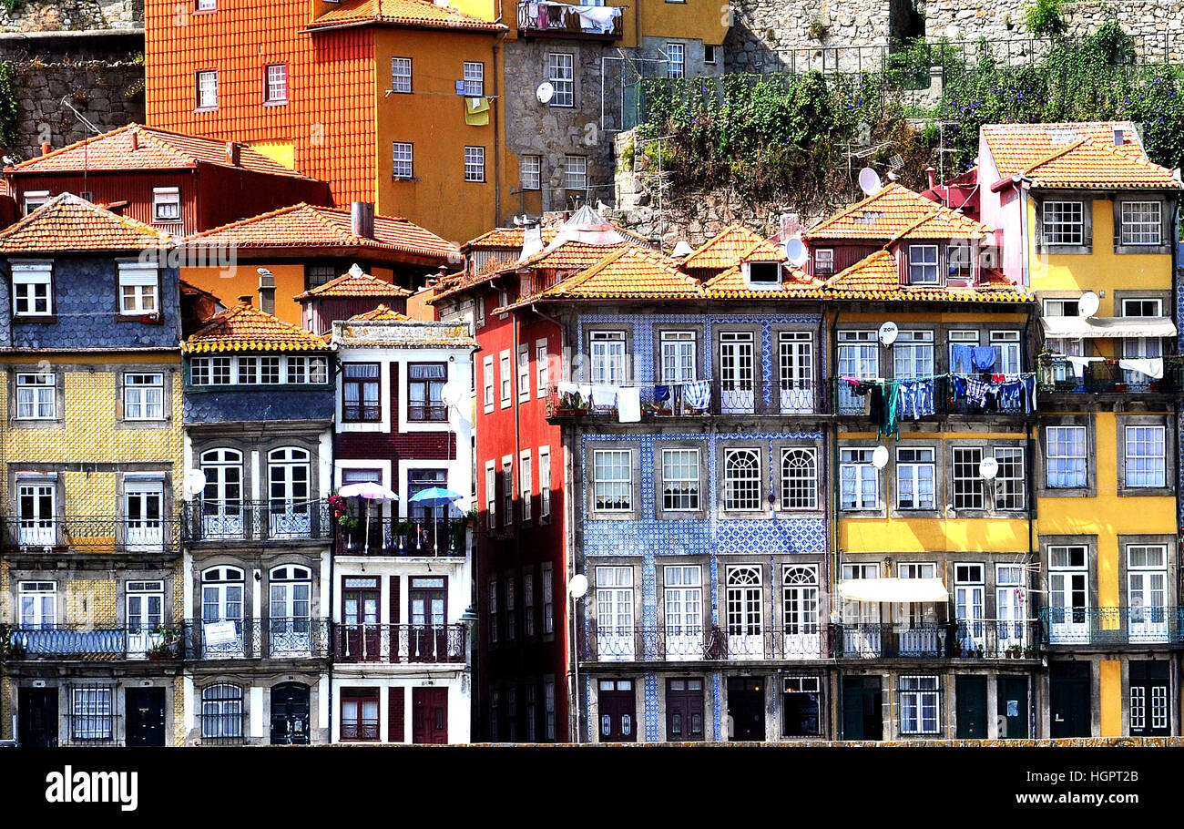 buildings on quay of Douro river Porto Portugal - Stock Image