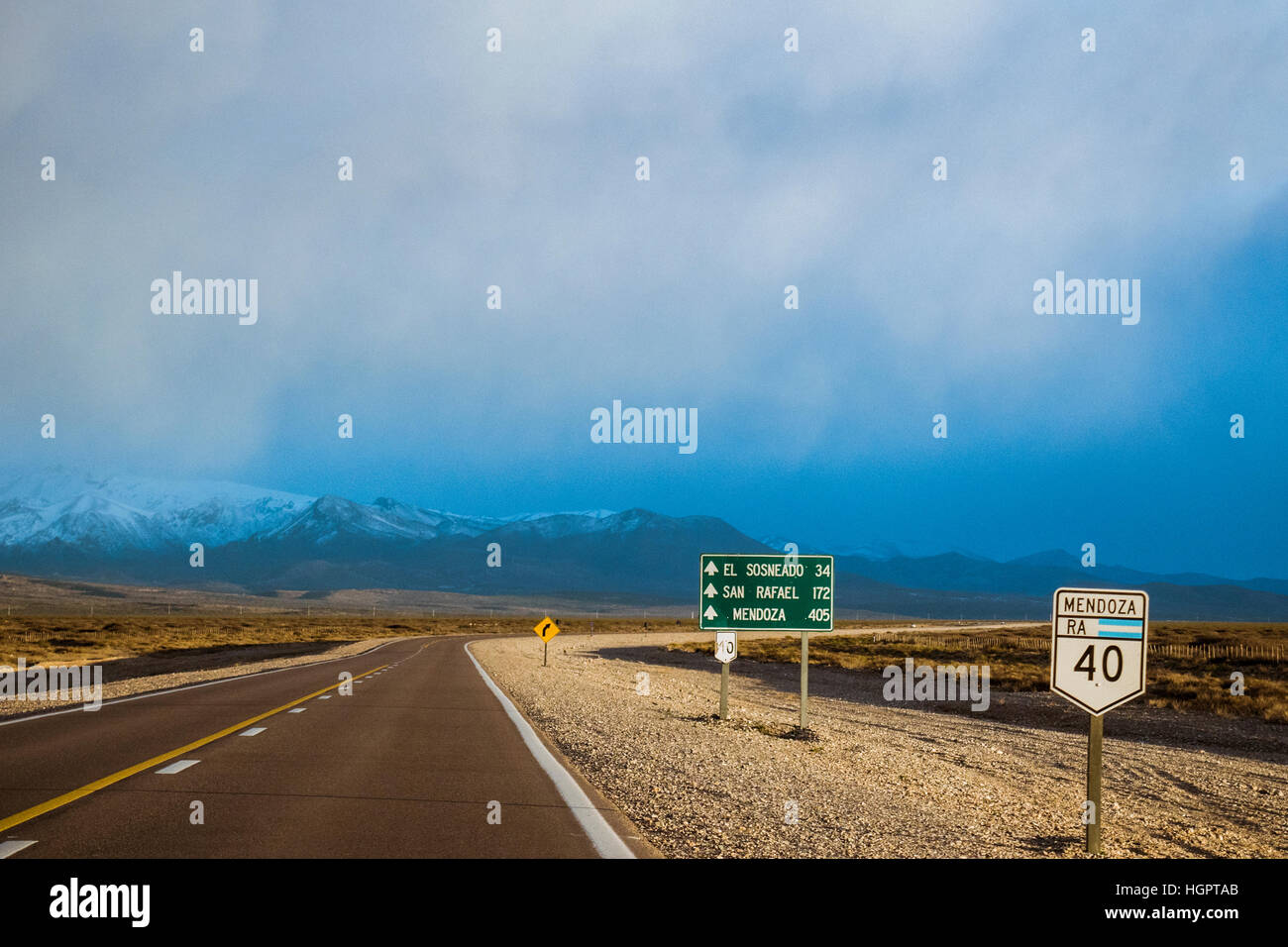 route 40 argentina from Malargue to Las Leñas through the mountains - Stock Image