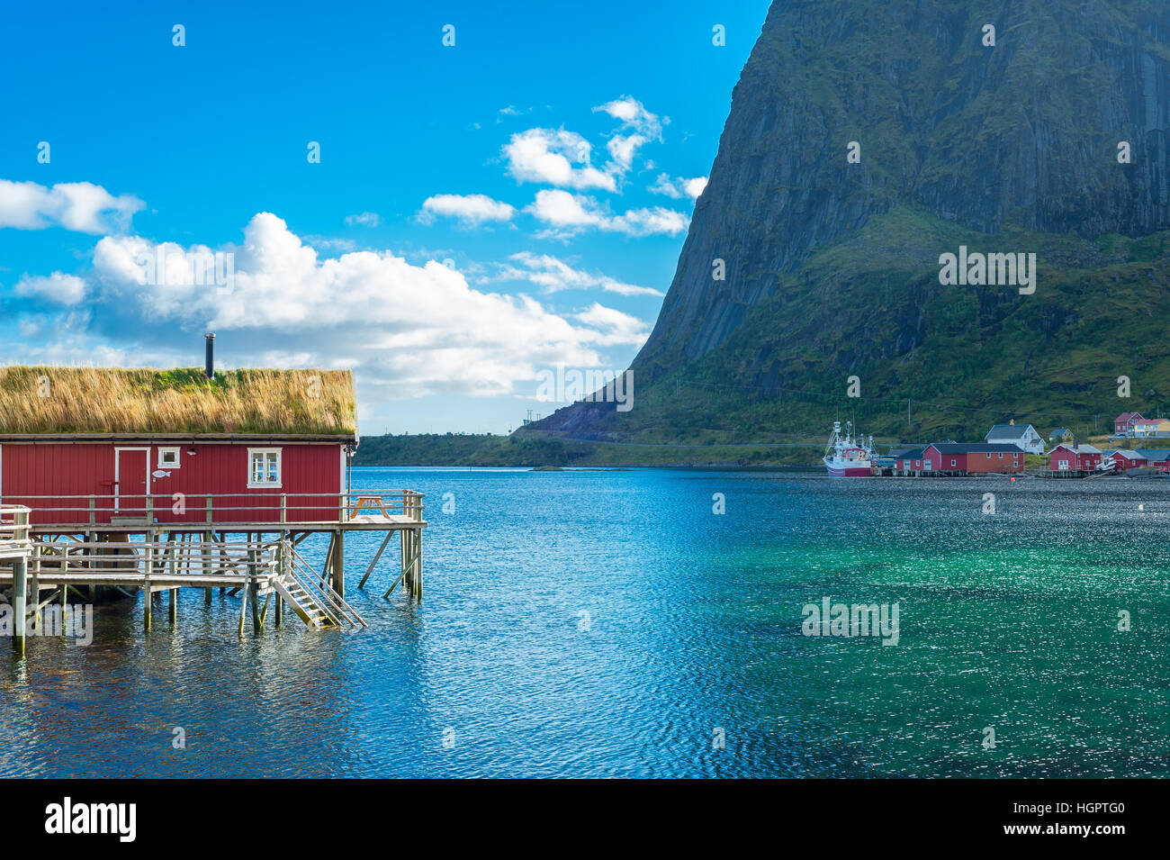 Nusfjord Fishing Village a traditional fishing village with the typical houses on stilts built partly on rocks, - Stock Image