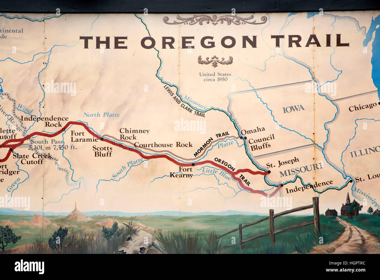 Oregon Trail Map Stock Photos & Oregon Trail Map Stock Images - Alamy