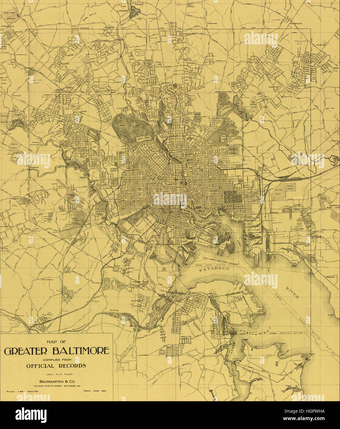 Vintage Baltimore Map 1919 - Stock Image