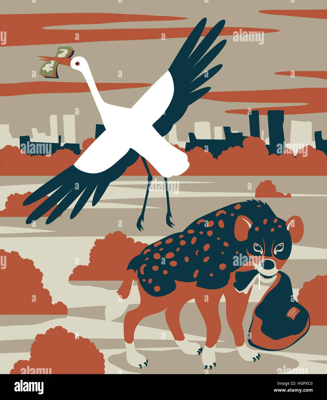 Concept vector illustration of corruption or child mortality as a stork sells a delivery package to a hyena - Stock Image