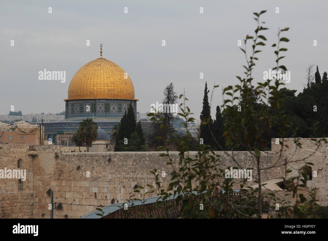 Dome of the Rock and Western Wall in Jerusalem - Stock Image