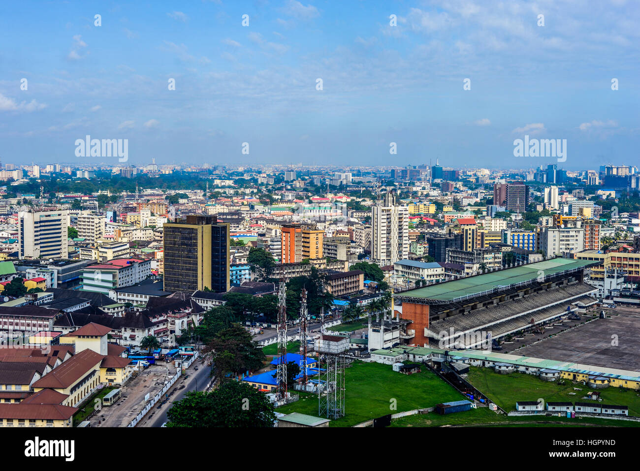 An aeerial view of Lagos Island, Nigeria - Stock Image