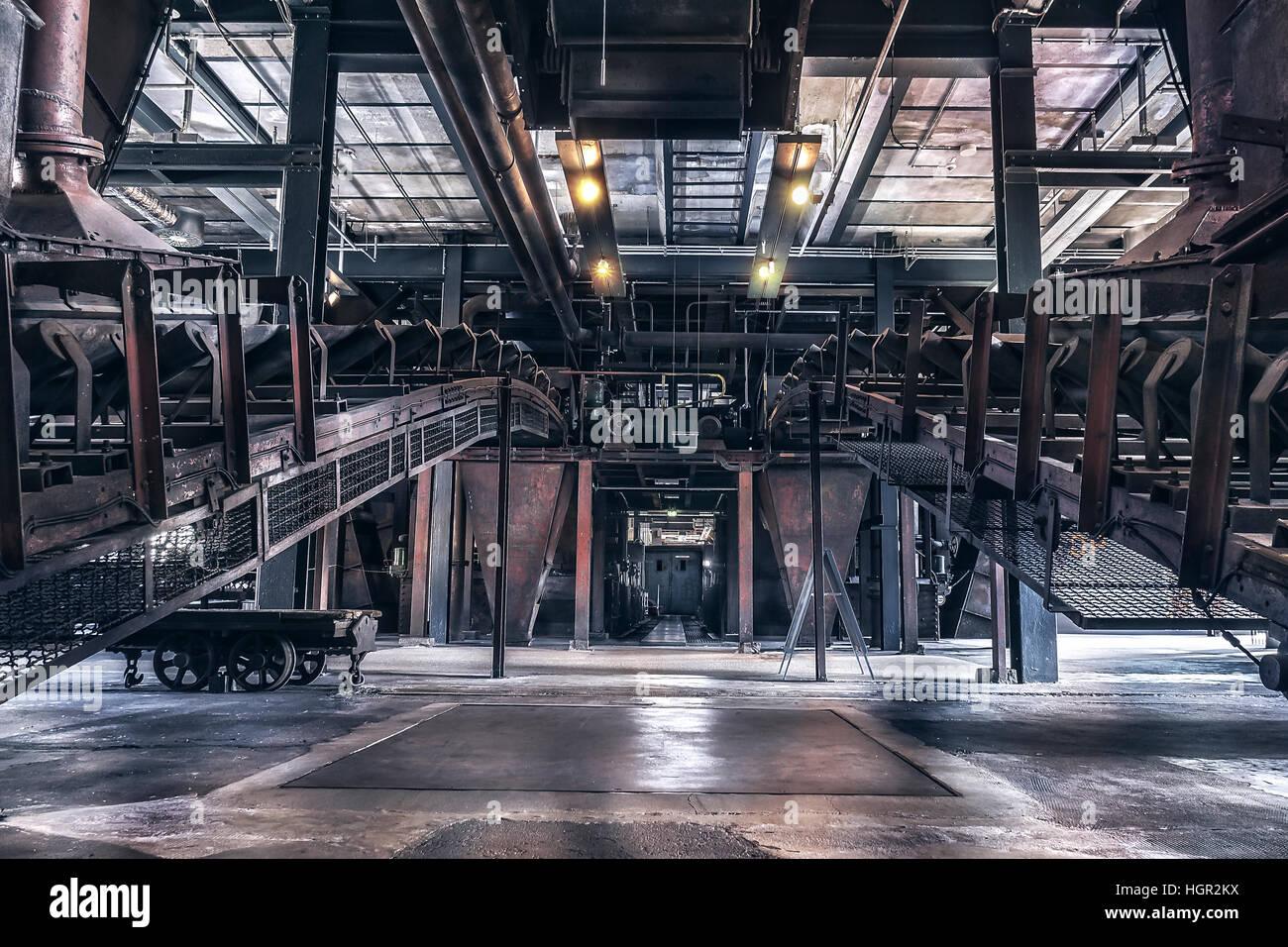 Indoor production scene of the 'Zeche Zollverein' in Essen-Germany. The closed coke oven plant is world - Stock Image
