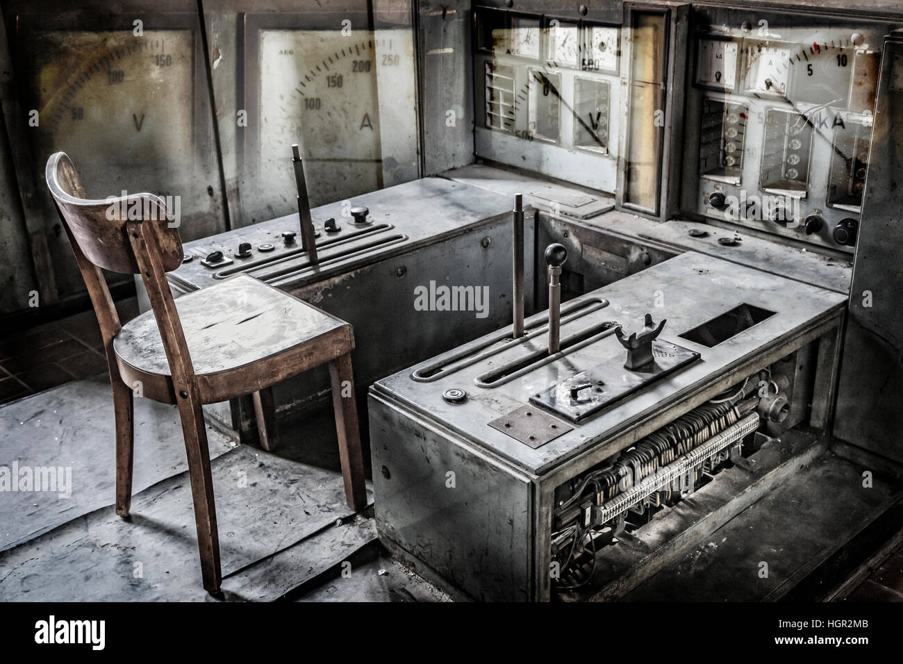 Control room with measuring instruments overlay of the 'Zeche Zollverein' in Essen-Germany. The closed coke - Stock Image