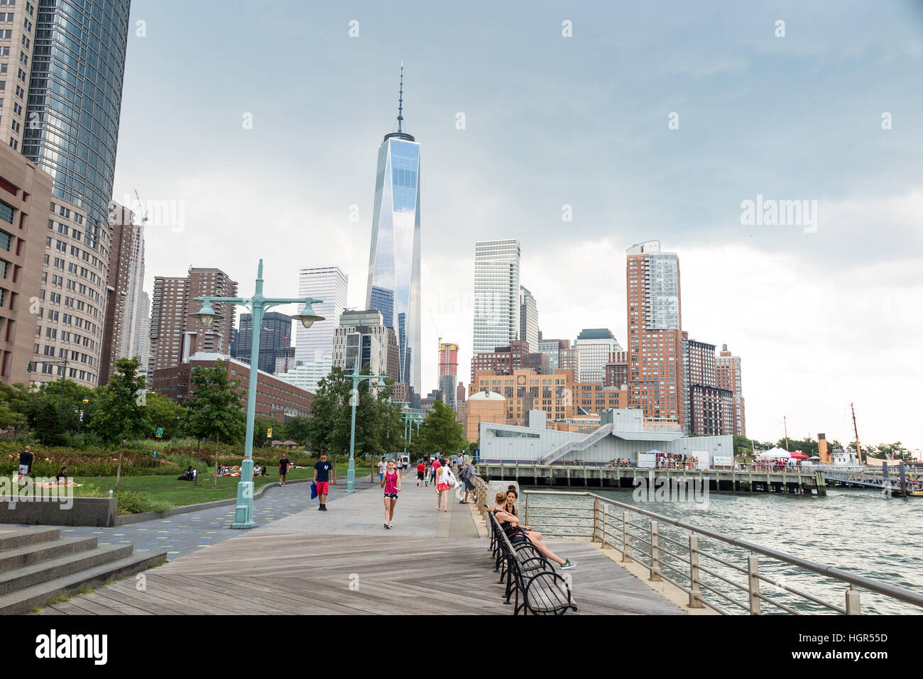 One World Trade Center building as seen from the streets of New York City - Stock Image