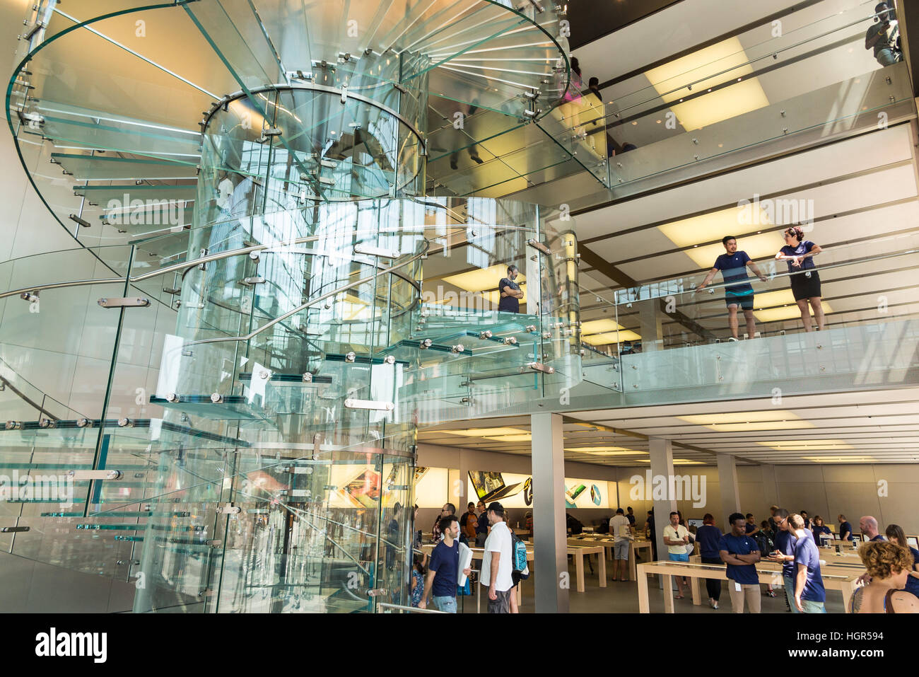 Lovely Glass Staircase / Stairs Inside The SoHo Apple Store   Manhattan, New York  City