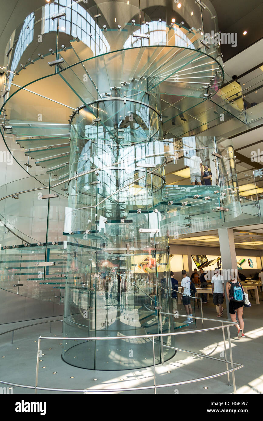 Glass Staircase / Stairs Inside The SoHo Apple Store   Manhattan, New York  City