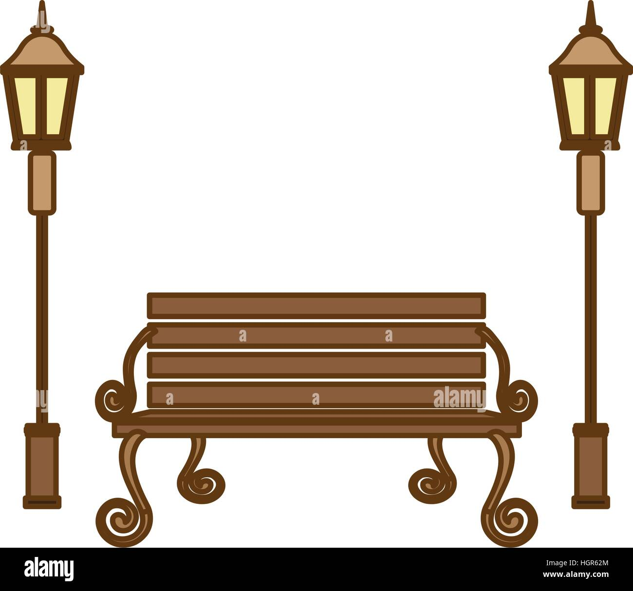 Park Bench And Vintage Street Lamps Icon Over White
