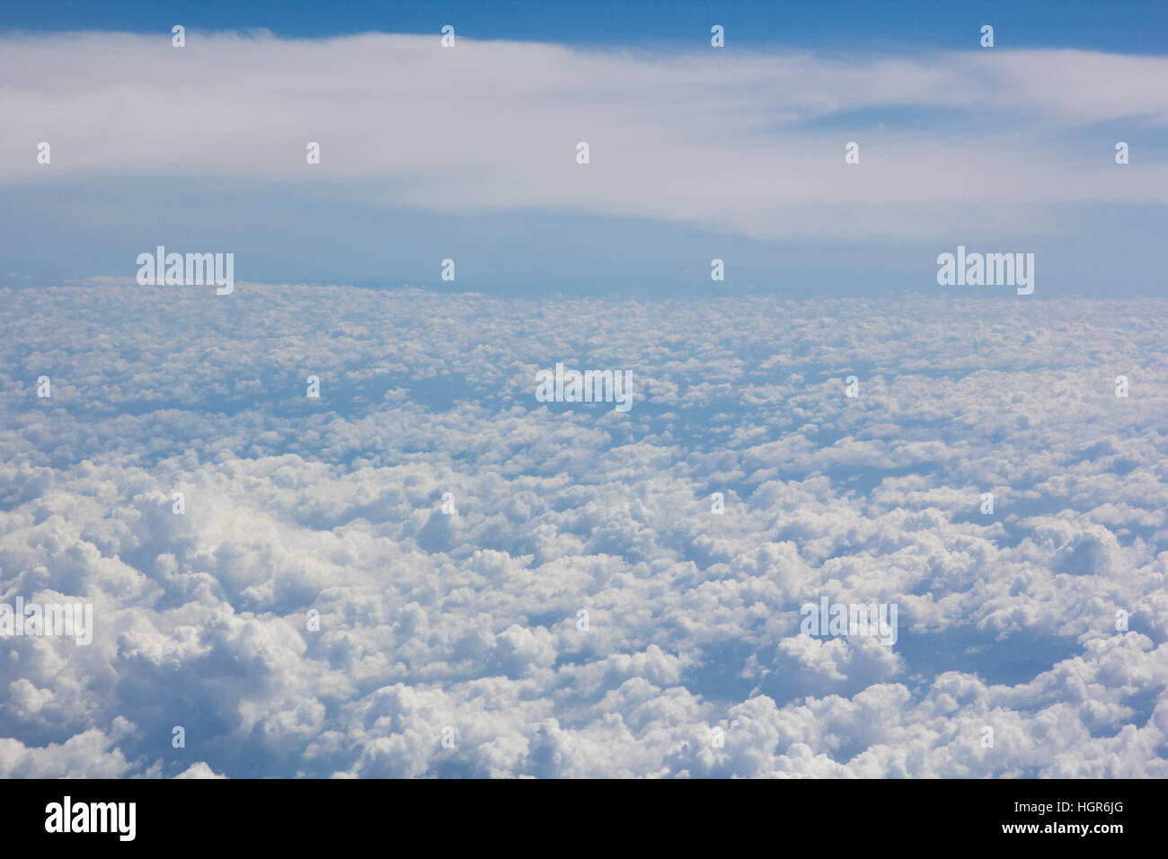 above cloud gradient blue sky background only - Stock Image