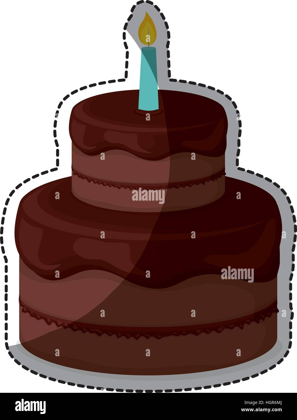 Chocolate Birthday Cake With Candles Icon Image Sticker Vector Stock