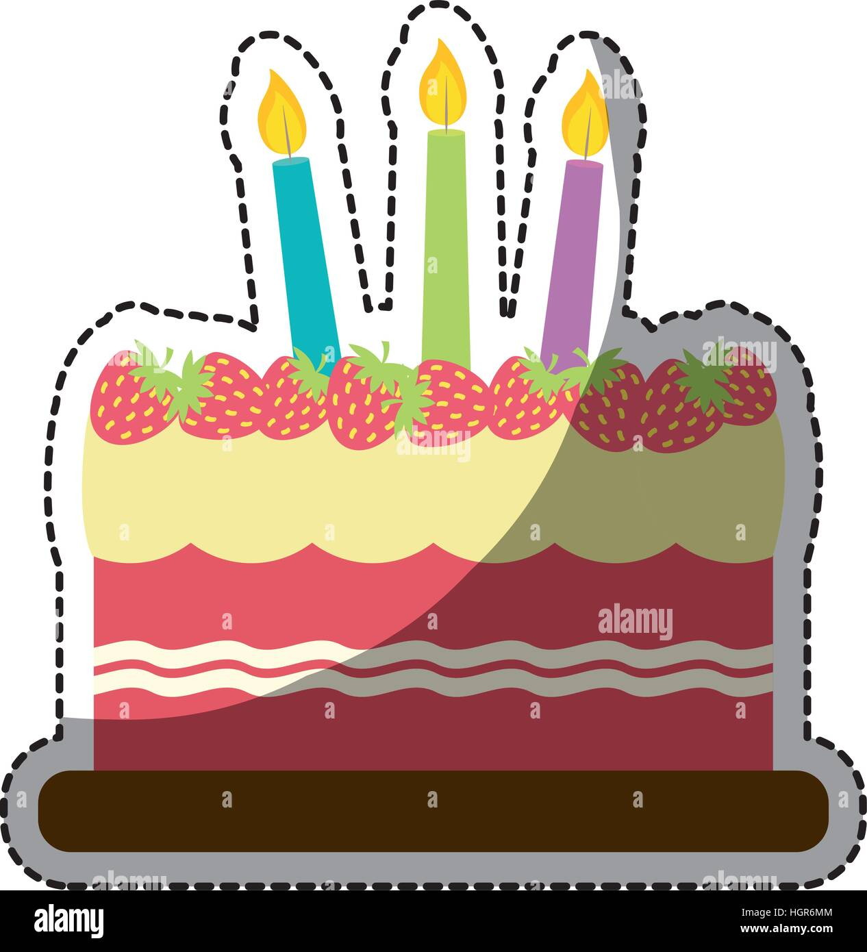Strawberry Birthday Cake With Candles Icon Image Sticker Vector