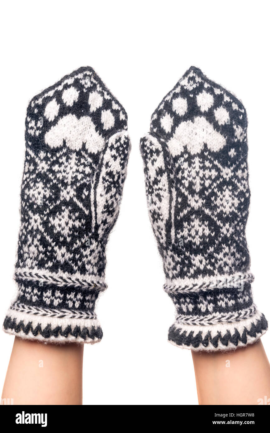 knitted woolen mittens handmade with pattern cat paws Stock Photo ...