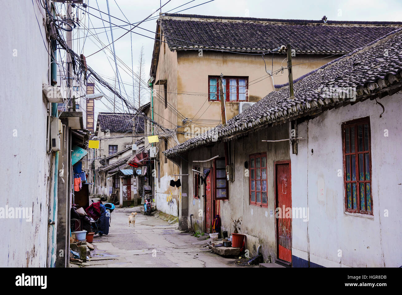 Old street in an ancient town in Shanghai China - Stock Image