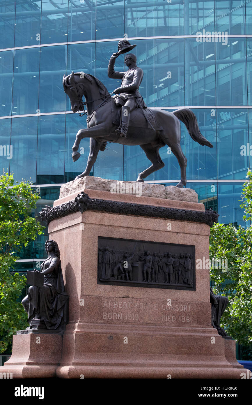 Statue of Prince Albert on a horse, Holborn Circus, London - Stock Image