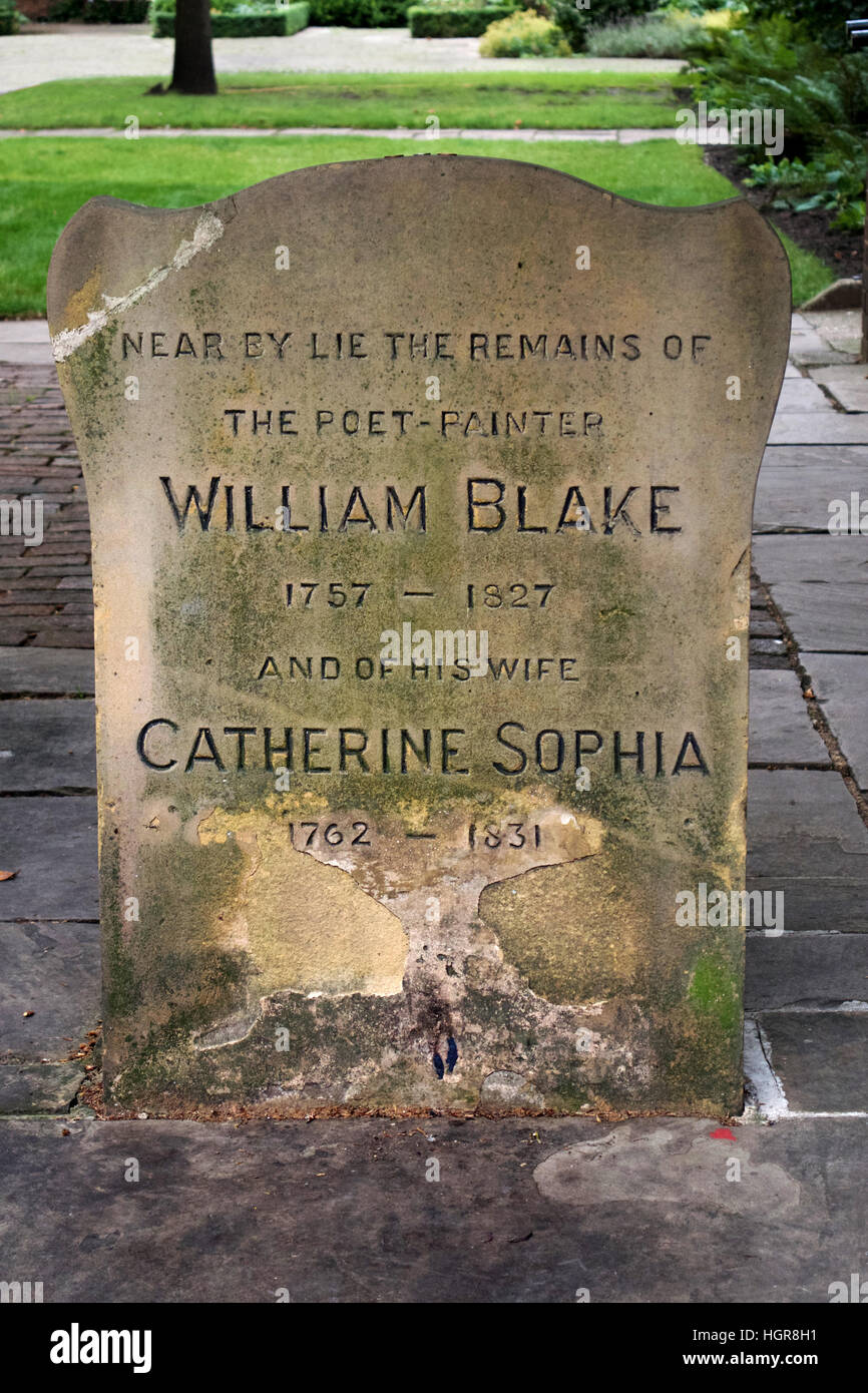 The gravestone of poet and painter, William Blake, at Bunhill Fields burial ground, London Stock Photo