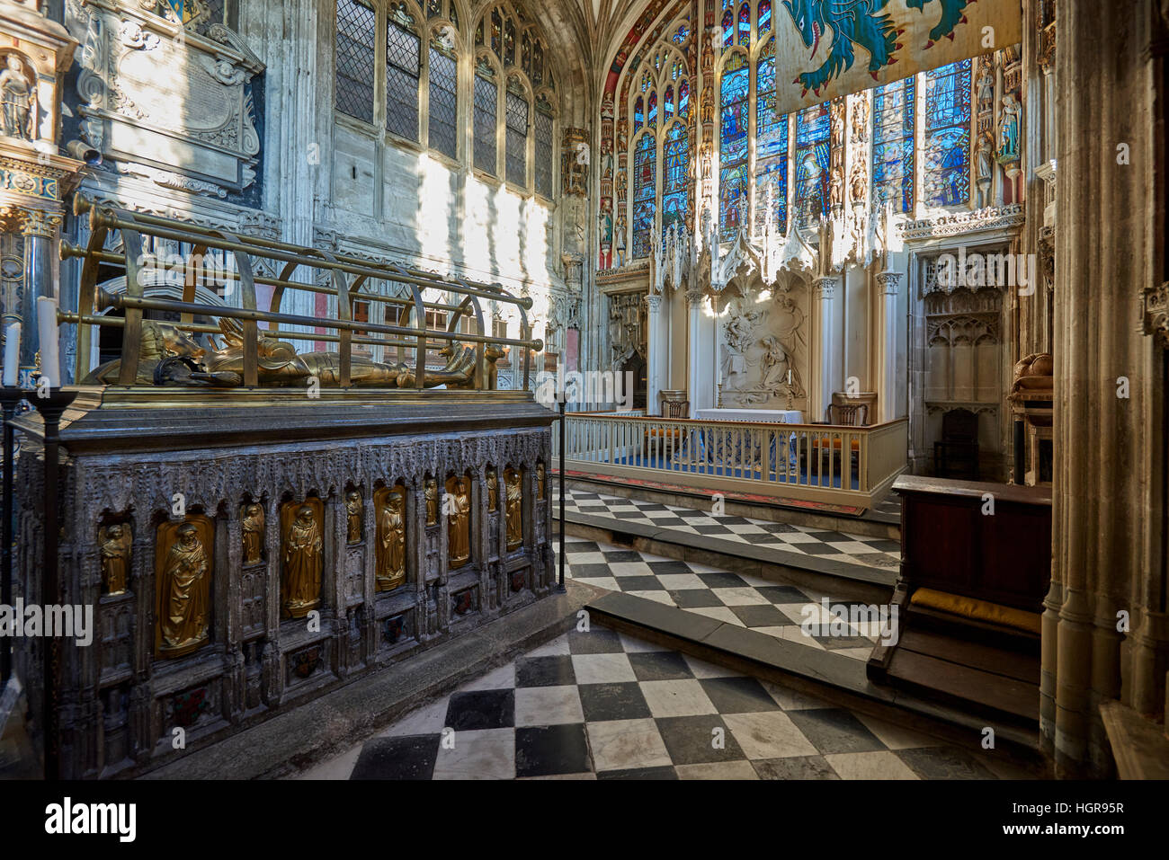 The Collegiate Church of St Mary is a Church of England parish church in the town of Warwick, England - Stock Image