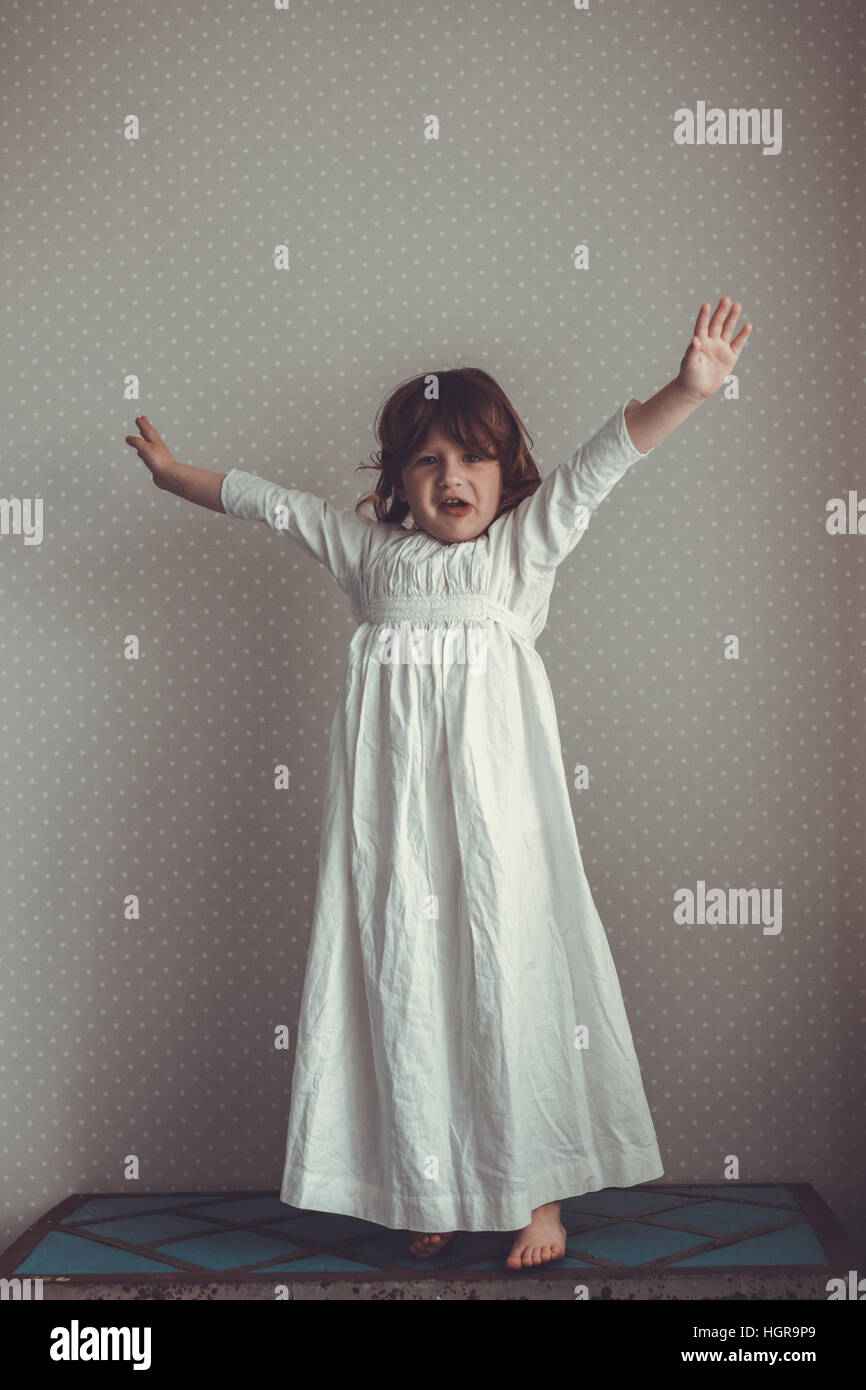 tender girl in a nightgown retro with sprigs of willow f13bfa510