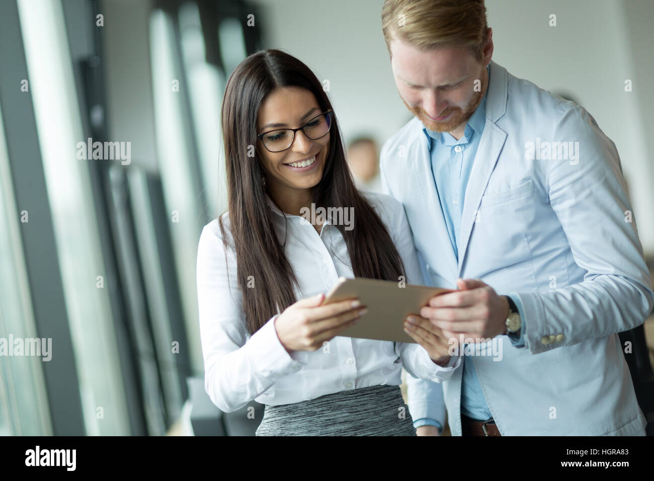 Business colleagues at information technology company offices Stock Photo