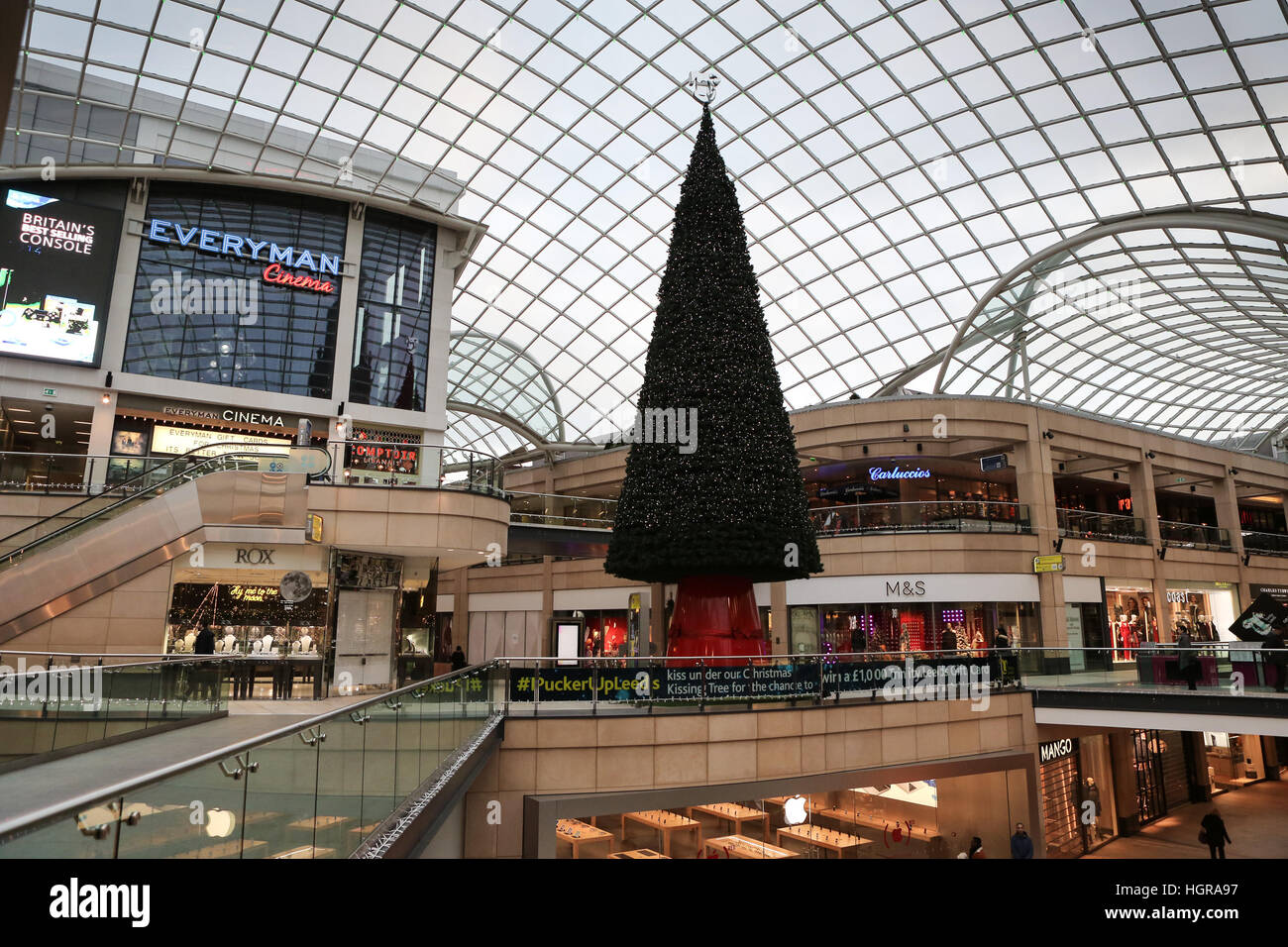 02/12/16, Leeds, UK. A Christmas tree and festive decorations adorn the Trinity shopping centre in Leeds, West Yorkshire. - Stock Image